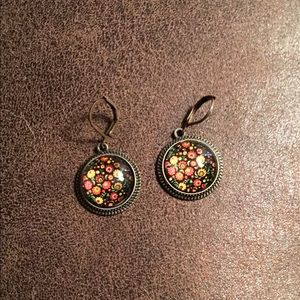 NWOT Floral Abstract Brass Glass Cabochon Earrings